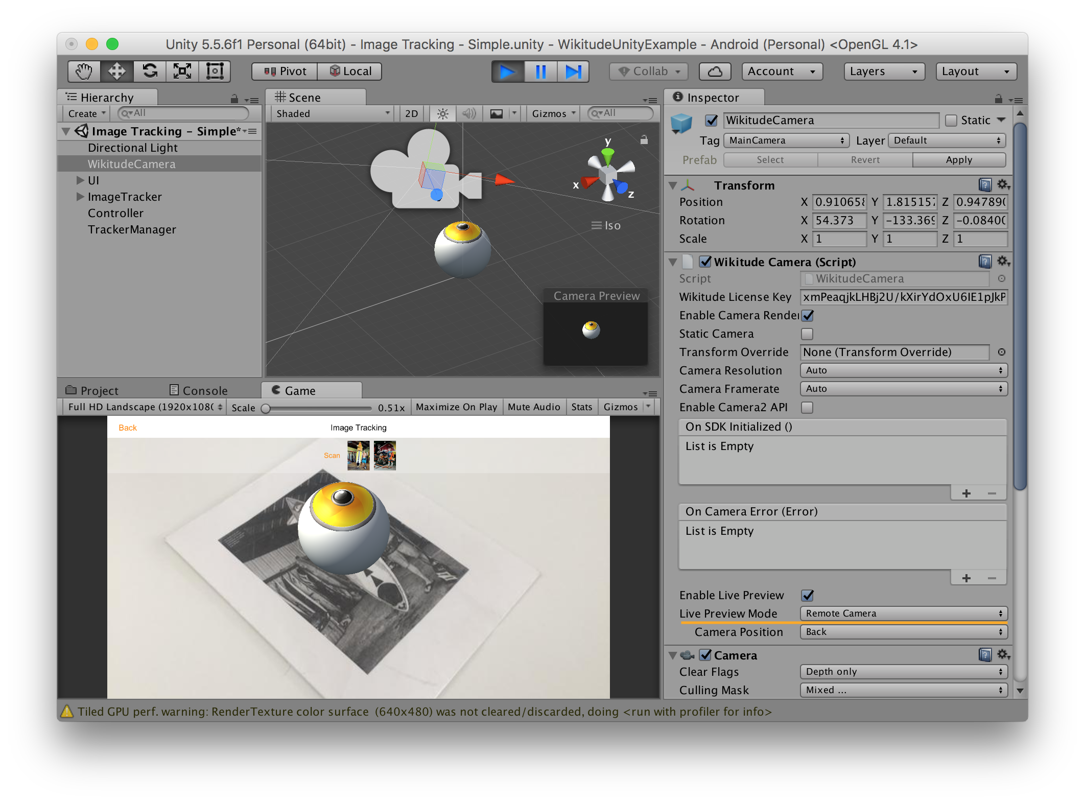 Unity Editor Live Preview Wikitude SDK Unity 8 7 0 Documentation