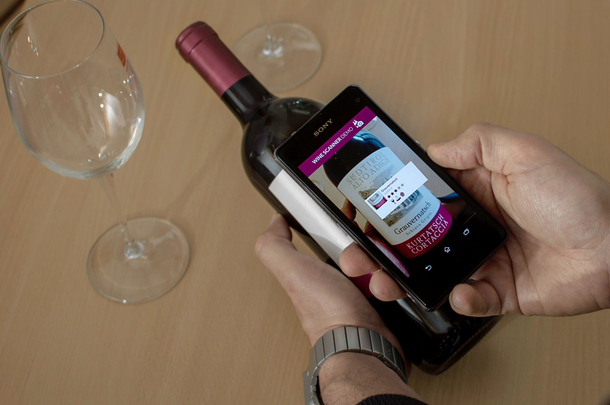 Wine bottle label augmented using Wikitude Image Tracking Cloud Recognition