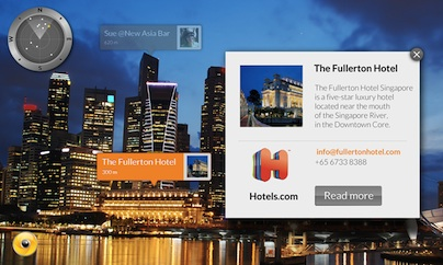 Wikitude Augmented Reality SDK - location based UI hotels example