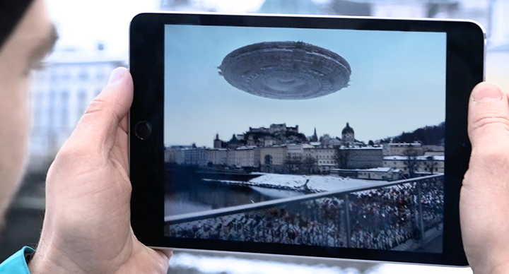 augmented reality UFO floating over city with Wikitude SLAM